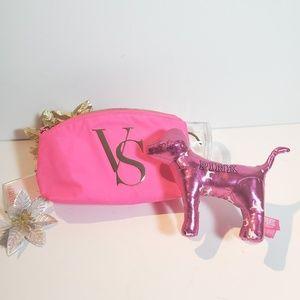 NWT, Victoria PINK Makeup Bag Dog Bundle